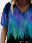 Aurora Tree Painting Print T-shirt