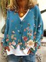 V Neck Casual Long Sleeve Floral Outerwear