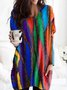 Crew Neck Ombre/tie-Dye Long Sleeve Dresses