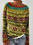 Casual Tribal Crew Neck Shirts & Tops