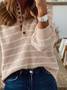 Plus size Casual Striped Sweater