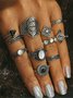 Retro ethnic style exaggerated gem combination 10-piece set ring