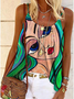 Plus size Hippie Abstract Sleeveless Shirts & Tops