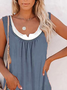Plus size Casual Sleeveless Shirts & Tops