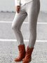 Fashion Plus size Brown Casual Solid Cotton Leggings
