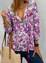 Ethnic Bohemian Floral Print Long Sleeve V-Neck Women Blouse Tops