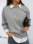 Grey Casual Round Neck Solid Cotton-Blend Tops&Sweater
