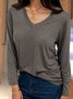 Gray Plain V Neck Cotton Casual Long Sleeve Spring/fall Shirts & Tops
