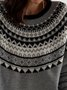 Gray Knitted Cotton Long Sleeve Round Neck Sweater