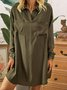 Olive Green Shirt Collar Solid Simple Dresses