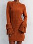 New Women Fashion Plus Size Vintage Long Sleeve Crew Neck Sweater Dress