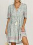 Light Blue Half Sleeve Cotton-Blend Dresses