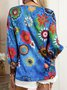 Plus size Hippie Floral Casual Shirts & Tops