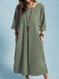 New Women Chic Plus Size Vintage Casual Boho Holiday Long Sleeve Linen Dresses